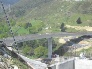 Our first stop, the Supersur highway construction in Bilbao.