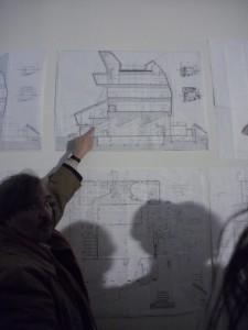 Architect explaining his design of the renovation of Museo Pablo Serrano in Zaragoza.