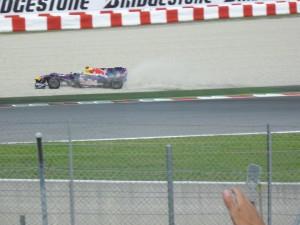 Sebastian Vettel of Red Bull hitting the gravel when his brakes overheated during the race.