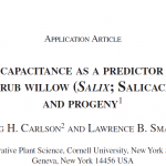 Smart lab publishes paper using capacitance as a predictor of root dry wt. in shrub willow