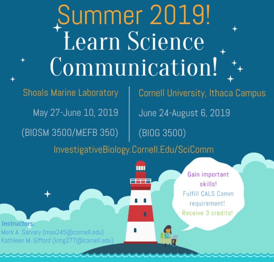 2019 SciComm Courses Cornell Shoals Marine Lab