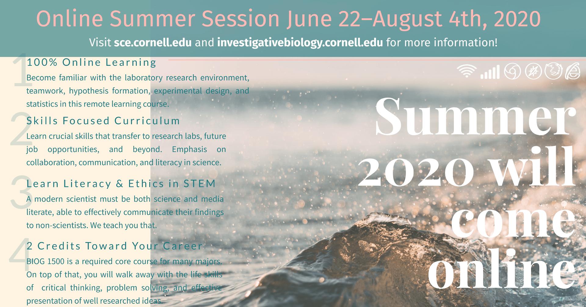 Promotional image displaying details for BIOG 1500 online Summer Session for 2020.