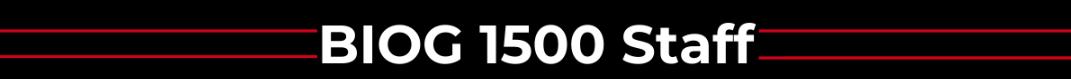 Banner that says BIOG 1500 Staff