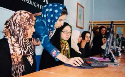 Elaha teaching IT to girls in Afghanistan