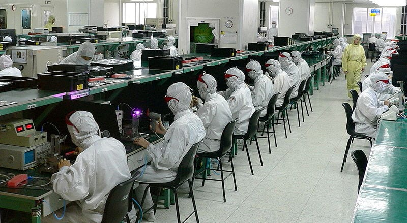 An electronics factory in Shenzhen, China. (glue works/Wikimedia Commons)