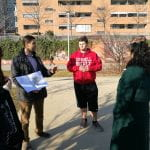 MRP alumna Simone Mangili, an analyst on environmental policy for the City of Turin, discusses the redevelopment of the Spina 3 former industrial area in Turin with students in CRP 4160. (l-R) Shayna Sarin, Simone Mangili, Alec Faber, Olivia Chaudhury, (Nathan Revor beyond Olivia C.) (Image: George Frantz)
