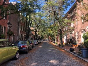 Tree-lined cobble stone street lined with row houses