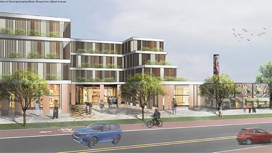 Rendering of a building on a tree-lined street