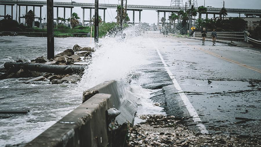 wave splashing road