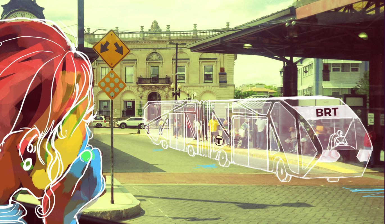 bus sketch on street