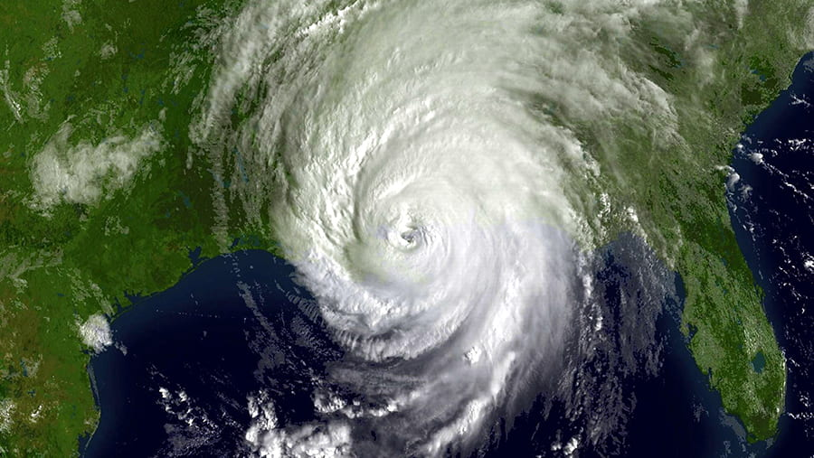 satellite image of hurricane over the state of Louisianna