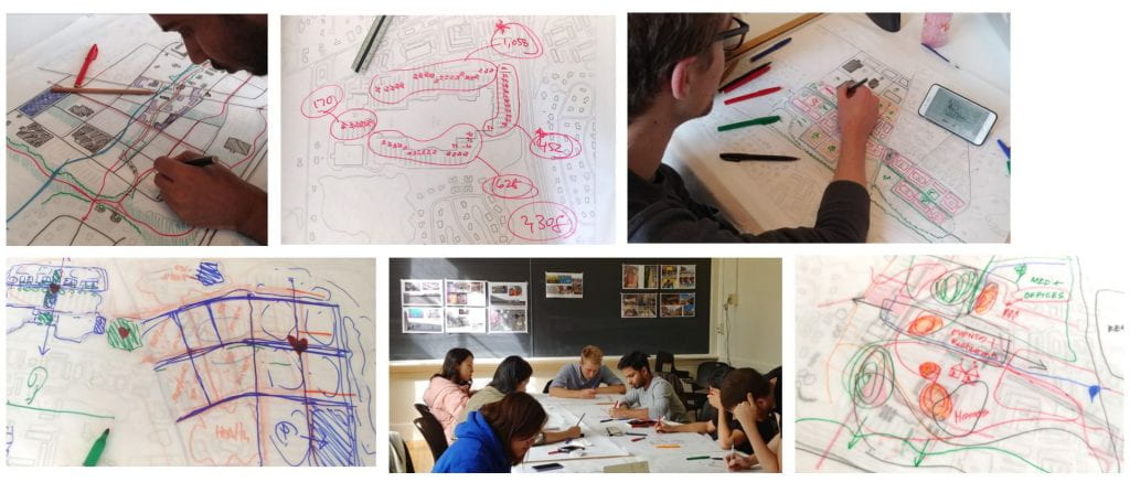 collage of images of student drawings and students working on drawings