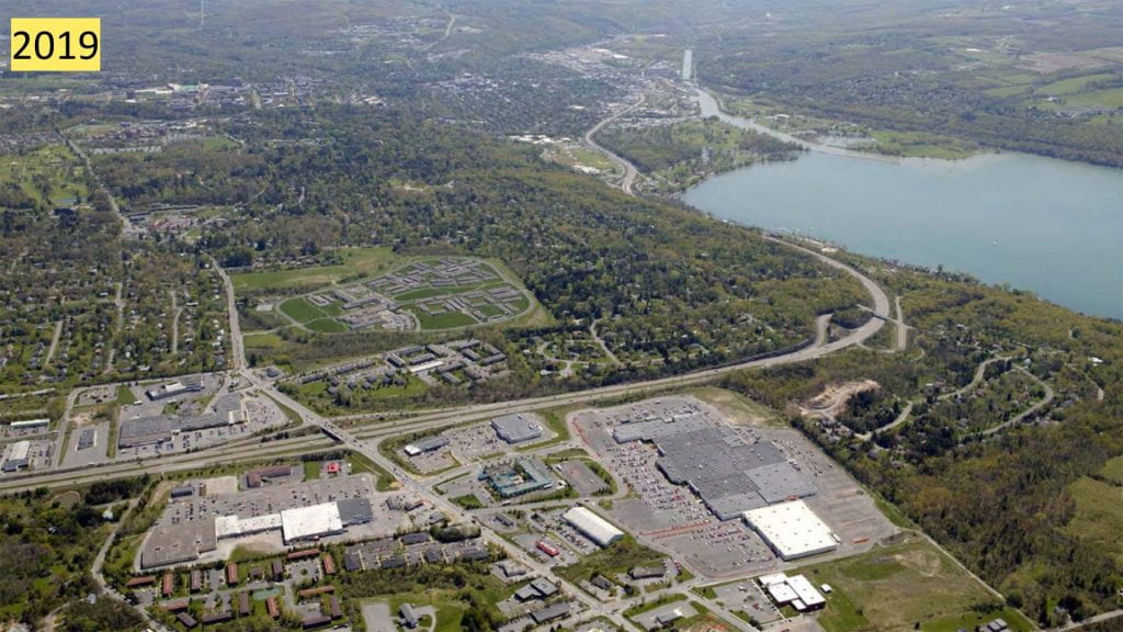 aerial view of The Shops at Ithaca Mall and Cayuga Mall
