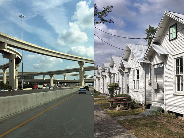 on left: a raised highway. on right: row of houses