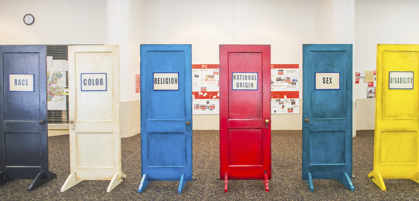 Six colored doors with signs
