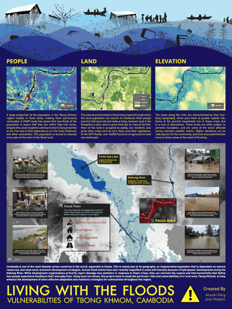 Poster depicting areas of Tbong Khmom, Cambodia that are vulnerable to flooding
