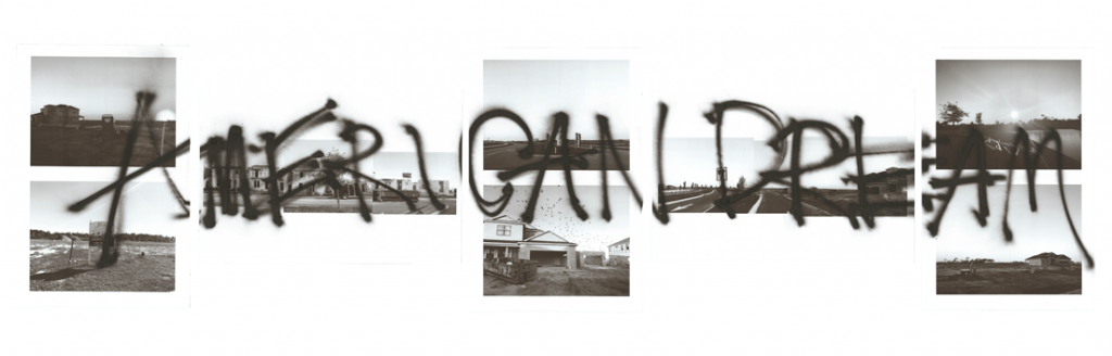 white wall with seven grayscale images and graffiti text