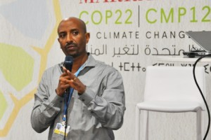 Mark Lawrence/Atkinson Center Dawit Solomon presents land degradation solutions at the COP22 meetings in Marrakech, Morocco Nov. 8.