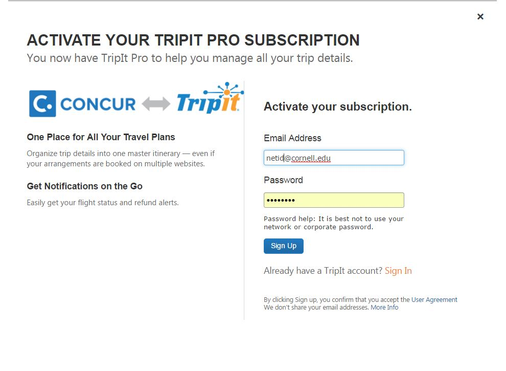Activating TripIt Pro | Travel at Cornell and Concur