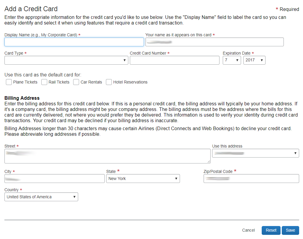 Adding Credit Cards | Travel at Cornell and Concur