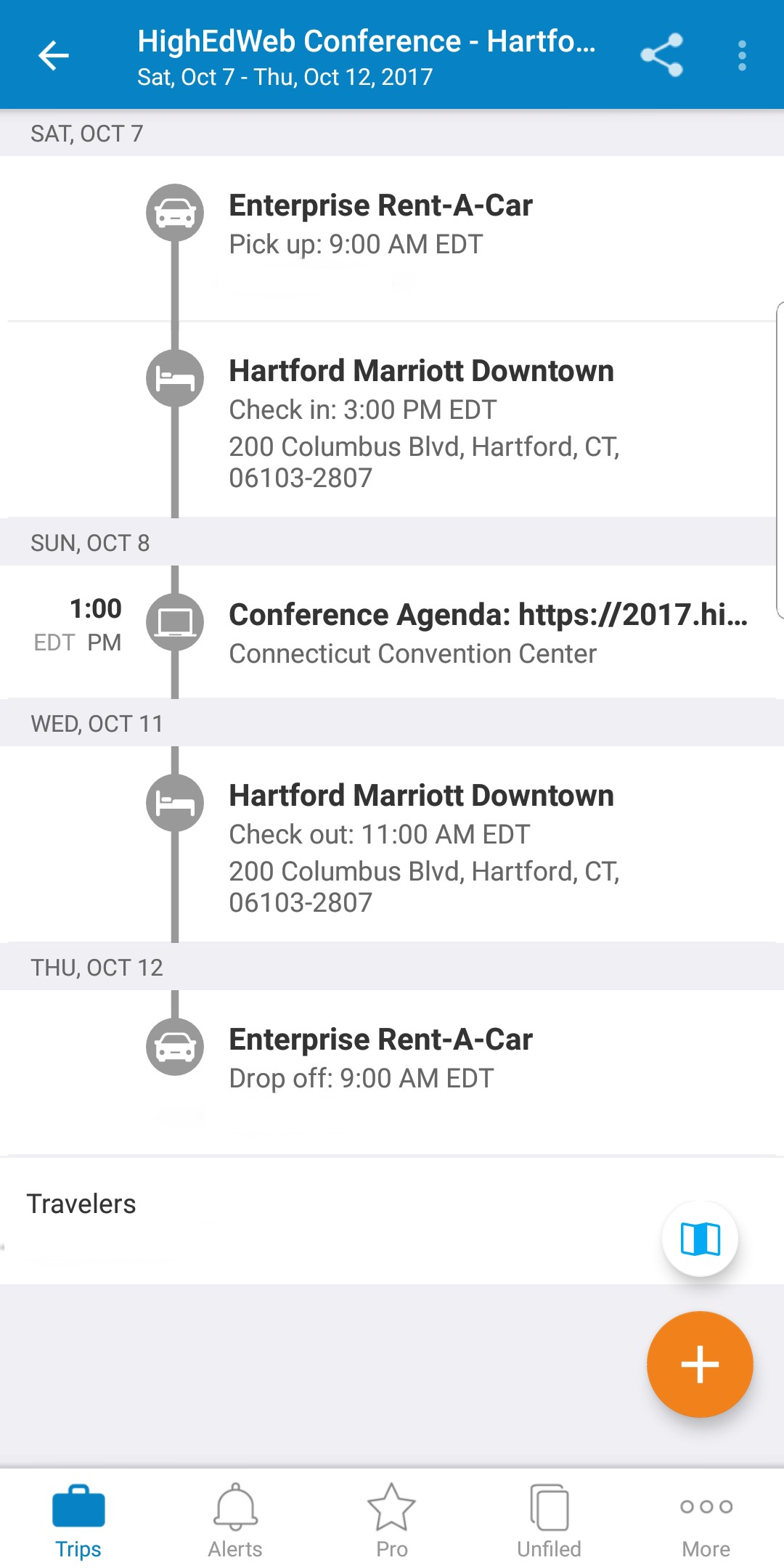 In TripIt Pro, you'll see an itinerary showing your trip's activities organized by day in chronological order.