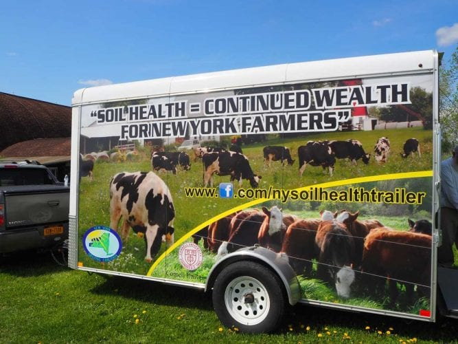 Soil Health Trailer at Musgrave Farm in Aurora, NY, for a statewide NRCS Soil Health Training Day.