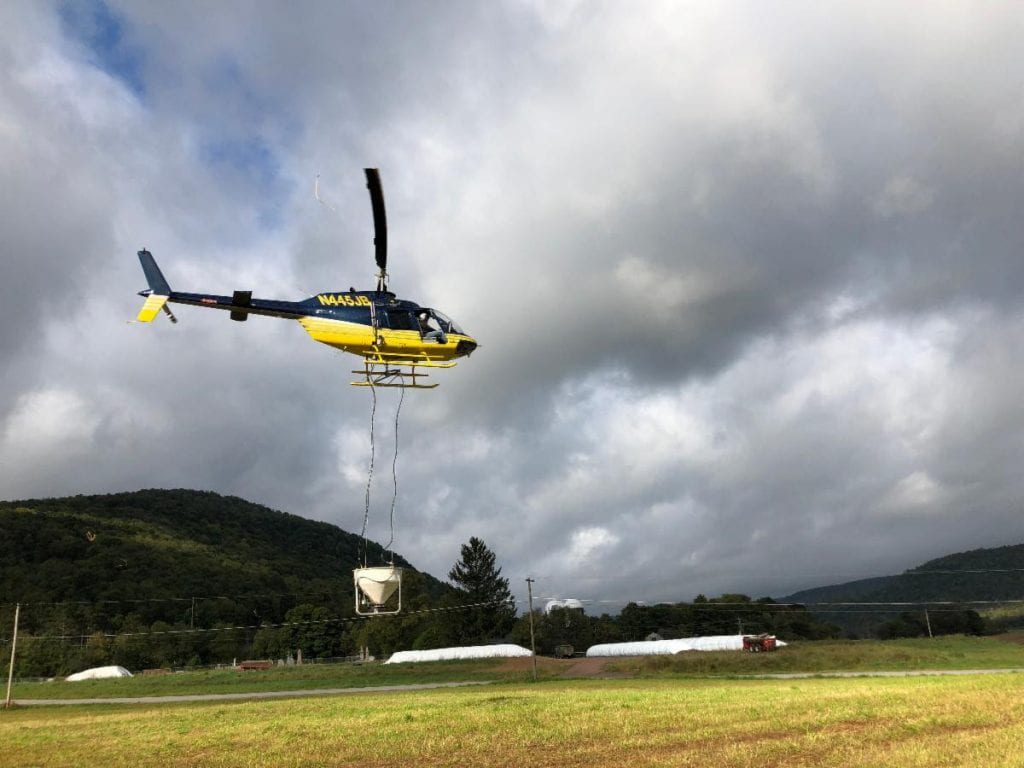 """A helicopter will drop winter rye grass seed into standing corn fields to establish a """"cover crop"""""""