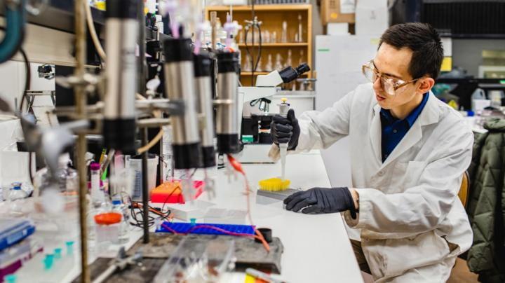 Lab assistant prepares cultures