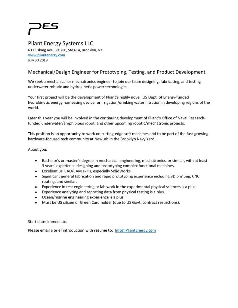 Pliant Energy Systems LLC, Position Available
