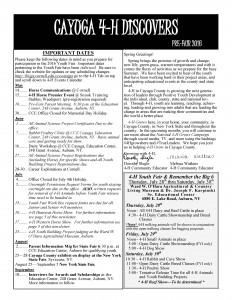 Cayuga 4-H Discovers - May 2016 pdf