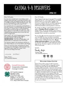 Cayuga 4-H Discovers Spring 2017 pdf