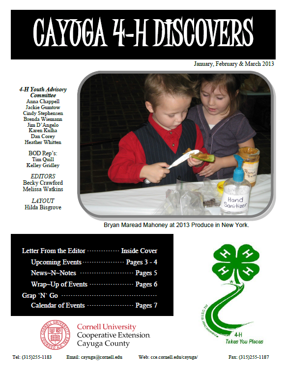4-H News Letter for January to March 2013 preview