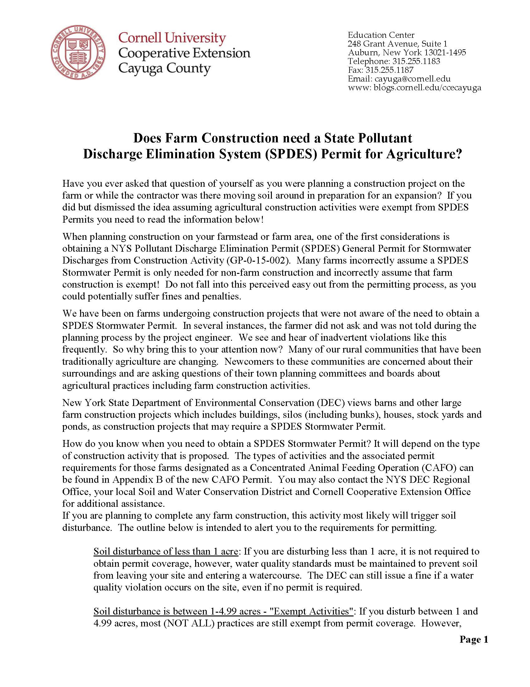 "Page 1 of PDF ""Does Farm Construction need a State Pollutant Discharge Elimination System Permit for Agriculture"""
