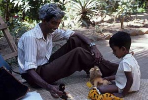 Sri-Lankan child with researcher