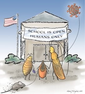 Cartoon showing pests not gaining access to the school building. Artwork by Karen English, Cornell University.