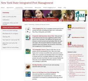 The NYS IPM Schools and Daycare Centers webpage has a number of resources to help your facility provide a safe learning environment.