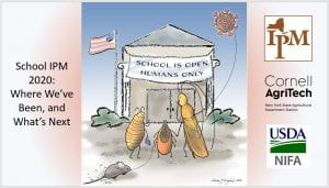 "A picture of a school with a banner that says ""School is Open Humans Only"" with a bedbug, cockroach, tick looking at the sign. The tick is holding a mouse pull toy and the cockroach is holding a coronavirus shaped balloon. Includes the logos for NYSIPM, Cornell AgriTech, and USDA: NIFA"