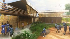 The Cornell University Sustainable Design group offer a rendering of the Voices of African Mothers Girls' Academy in Sogakope, Ghana.