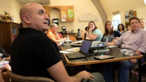 """Ziad Fahmy, associate professor of Near Eastern studies, led the first session """"America and the Middle East"""" Sept. 26."""