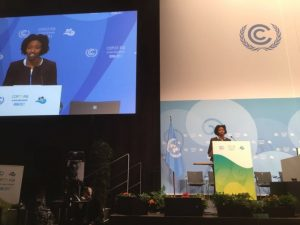 Etinosa Obanor, representing global youth constituencies, addresses the high-level segment at COP23 on Nov. 16.