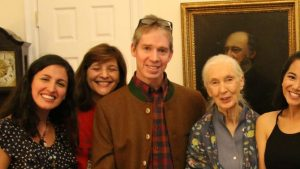 Robin Radcliffe with Jane Goodall and Cornell students.