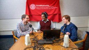 Aravind Natarajan, Ph.D. '19, center, of the Science Blender podcast