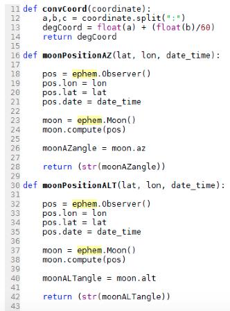 Ephemeris Functions Developed for Moon – University of