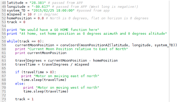 Sample Tracking Script using Moon Ephemeris Functions