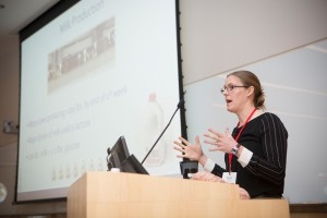 Jessica McArt, assistant professor of Population Medicine and Diagnostic Sciences (PMDS), speaks at the inaugural (2016) Dairy Center for Excellence (CDCE) Symposium.