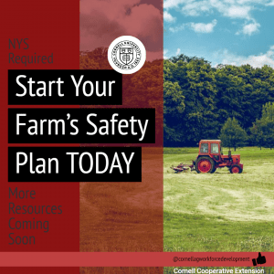 Farm scene and reminder about making a safety plan.