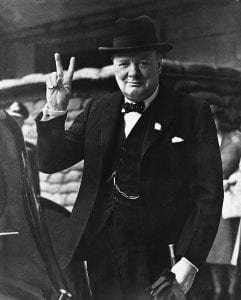 Photo of Winston Churchill giving his victory sign