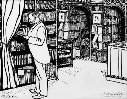 George Lincoln Burr in the A.D. White Library, drawn by Roland Bainton