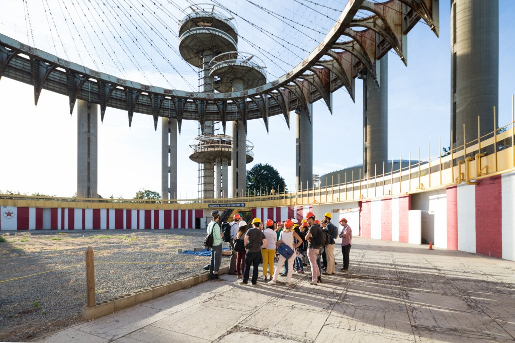 Students at the New York State Pavilion and Flushing Meadows Corona Park. photo / Zachary Tyler Newton
