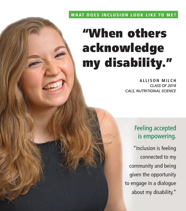 Allison Milch. What does inclusion look like to me? When others acknowledge my disability.